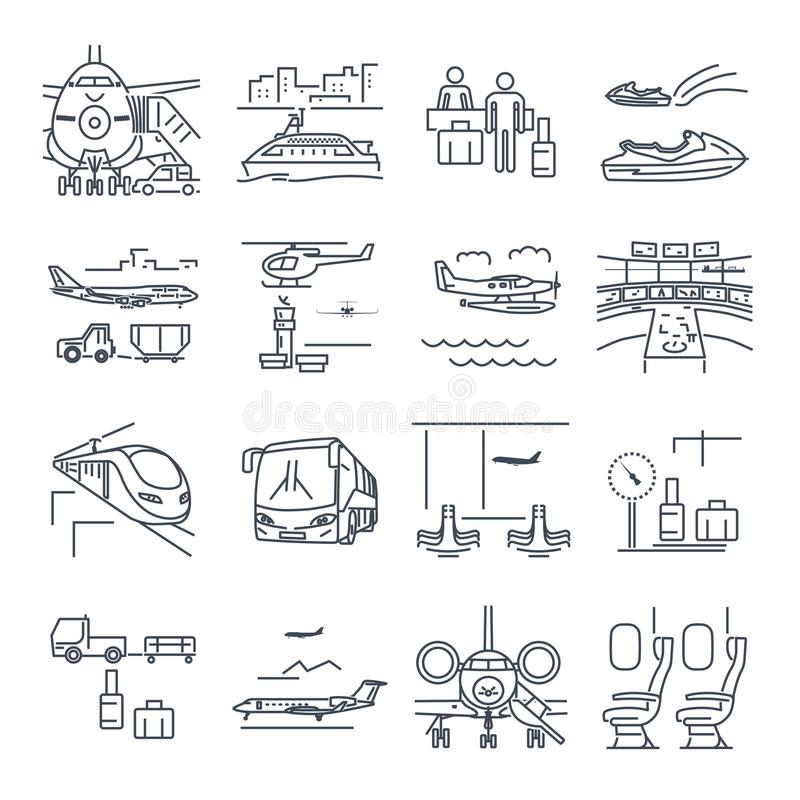 El sistema de la línea fina iconos viaja, turismo, transporte, tren ilustración del vector