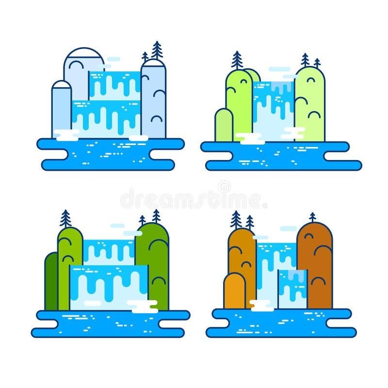 El sistema de la línea plana concepto colorido con la cascada y la montaña ajardinan en cuatro estaciones Diseño gráfico de moda  stock de ilustración