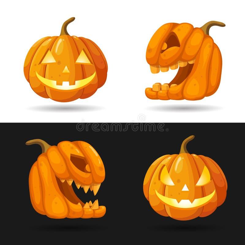 El sistema de la linterna de Jack o dirige con las velas ardientes Caracteres de la calabaza de Halloween con diversas expresione stock de ilustración