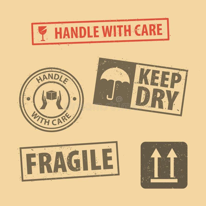 El sistema de la manija frágil de la etiqueta engomada con cuidado y los símbolos de empaquetado del icono del caso firman, manti stock de ilustración