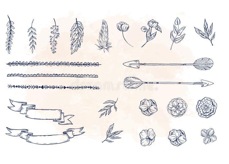 El sistema de la mano dibujado florece, las hojas, ramas libre illustration