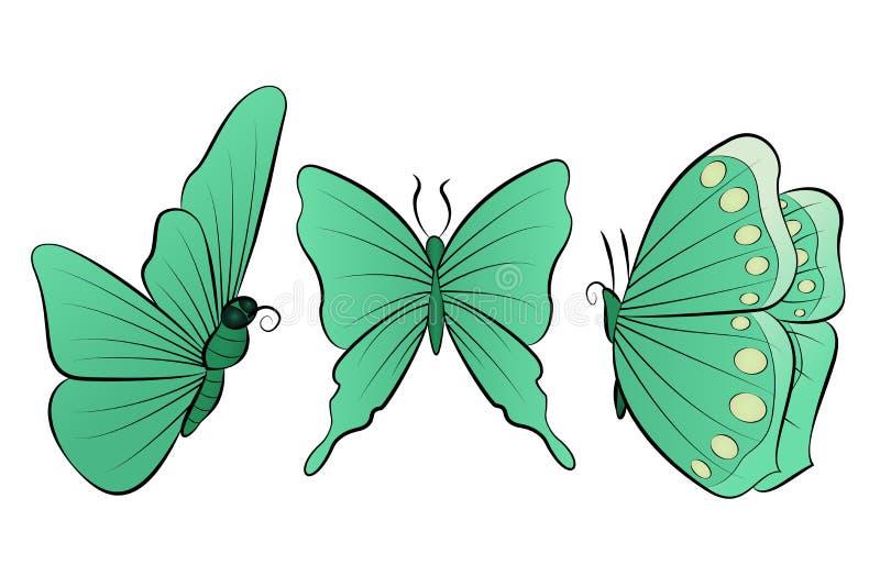 El sistema de la mariposa hermosa tres Colección de la primavera ilustración del vector