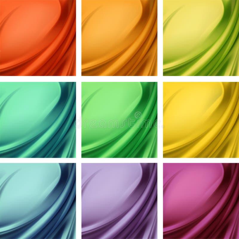 El sistema de la materia textil sedosa coloreada del satén púrpura azul amarillo verde anaranjado rojo cubre con los dobleces ond libre illustration