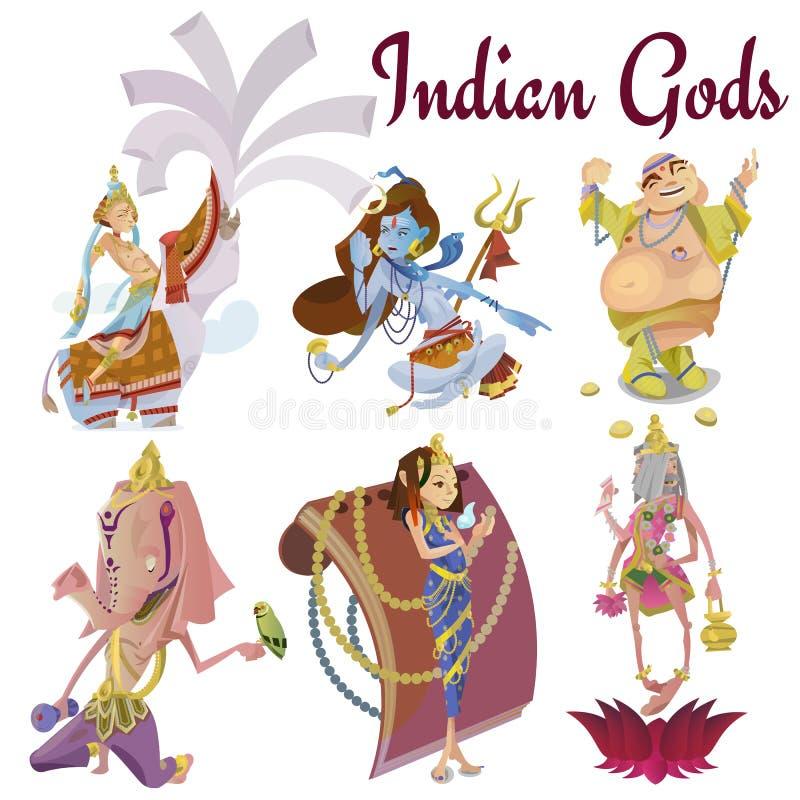 El sistema de la meditación hindú aislada de dioses en yoga plantea la religión del loto y del hinduism de la diosa, cultura asiá libre illustration