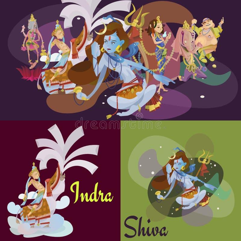 El sistema de la meditación hindú aislada de dioses en yoga plantea la religión del loto y del hinduism de la diosa, cultura asiá ilustración del vector