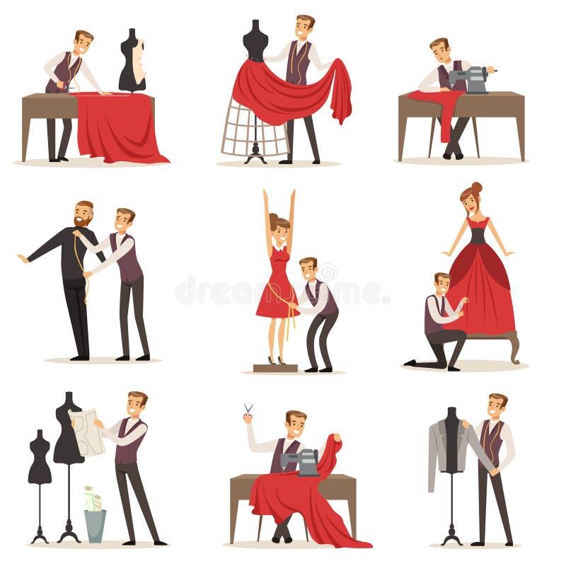 El sistema de la modista, la adaptación masculina del diseñador que mide y que cose para sus clientes vector ejemplos ilustración del vector