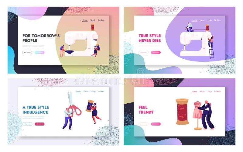 El sistema de la página del aterrizaje de la página web del diseño de la moda, modistas crea el equipo y la ropa en la máquina de stock de ilustración