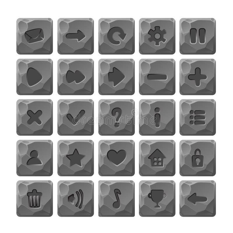 El sistema de la piedra de la historieta abotona con los iconos del web libre illustration