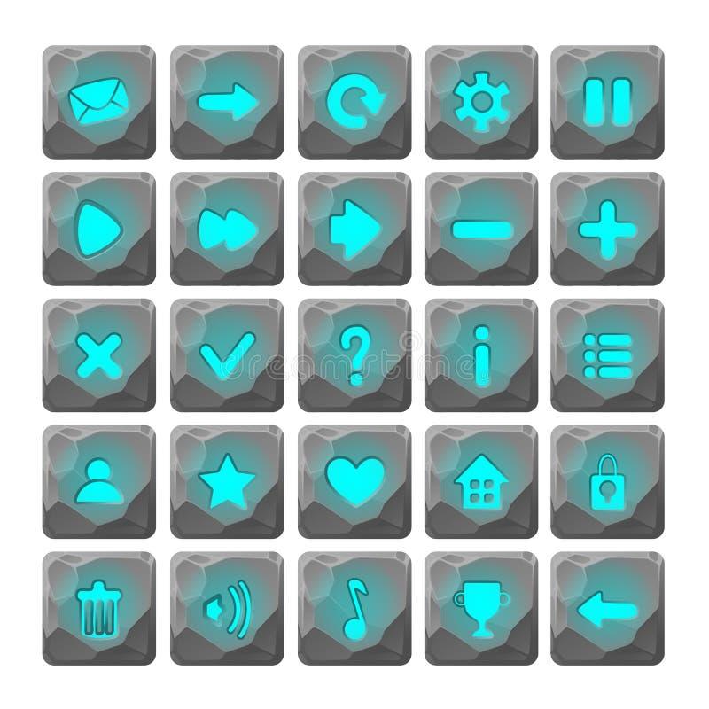 El sistema de la piedra de la historieta abotona con los iconos del web ilustración del vector
