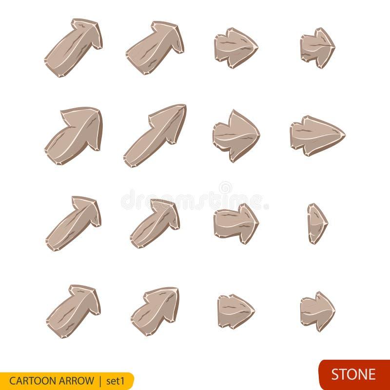 El sistema de la piedra de la historieta abotona en colores grises stock de ilustración