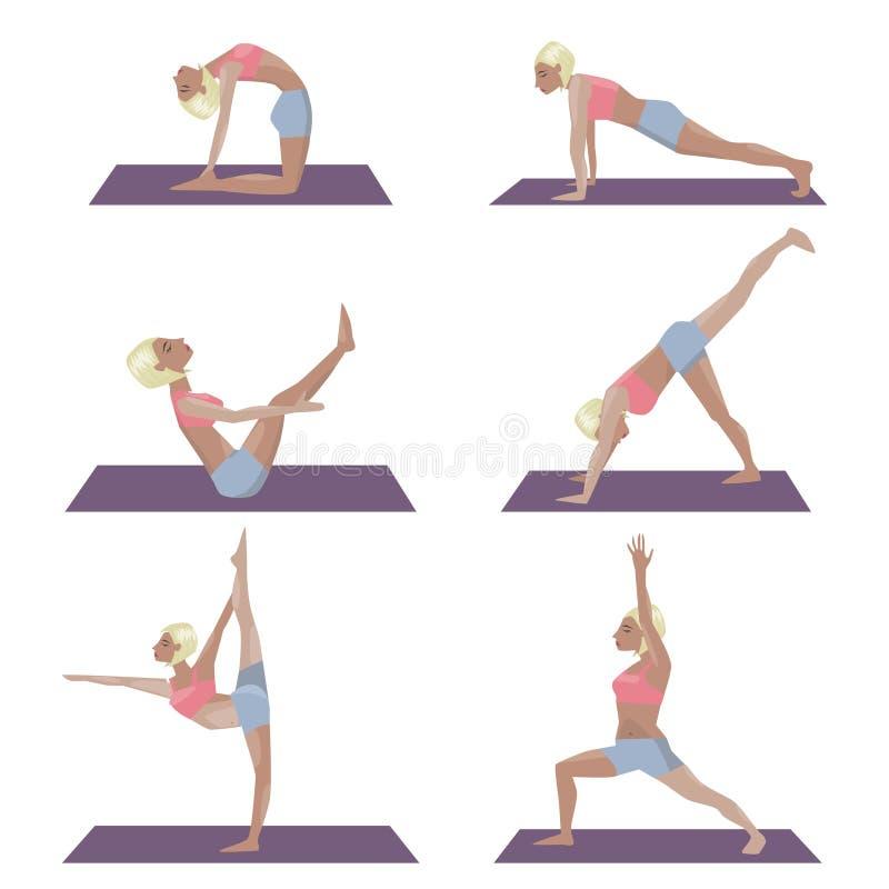 El Sistema De La Plantilla Con La Muchacha Rubia Que Hace Yoga ...