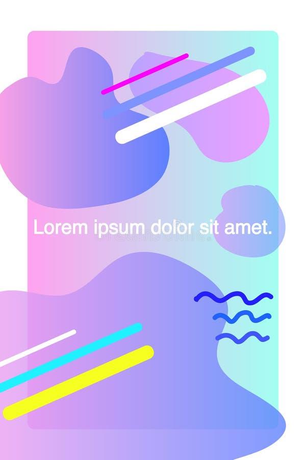 El sistema de la plantilla de la cubierta del mundo, el bauhaus Memphis y el inconformista abstractos diseñan el color flúido grá stock de ilustración