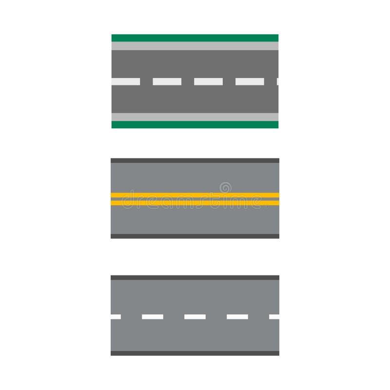 El sistema de la plantilla de carreteras rectas de las carreteras de asfalto vector el transporte del viaje de la manera del asfa libre illustration