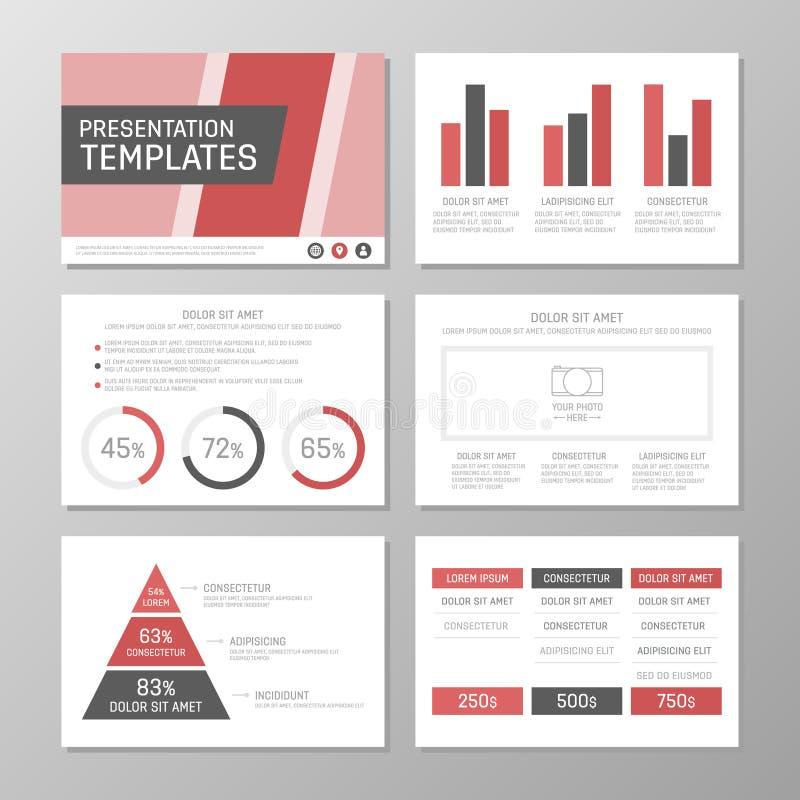 El sistema de la plantilla roja y gris para la presentación multiusos resbala Prospecto, informe anual, diseño de la cubierta de  ilustración del vector