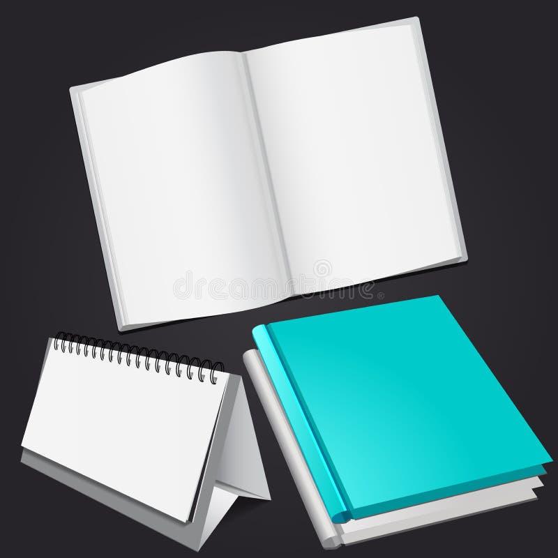El sistema de la revista en blanco, el álbum o el libro y la mesa hacen calendarios la maqueta en fondo gris oscuro ilustración del vector