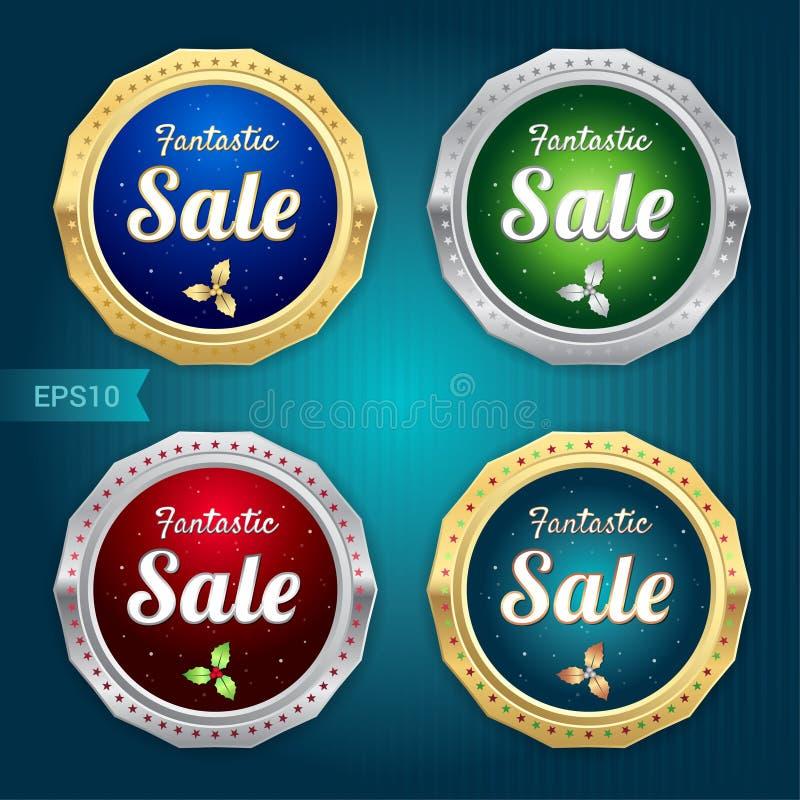 El sistema de la venta retra del descuento de la promoción y la garantía marcan la bandera con etiqueta ilustración del vector