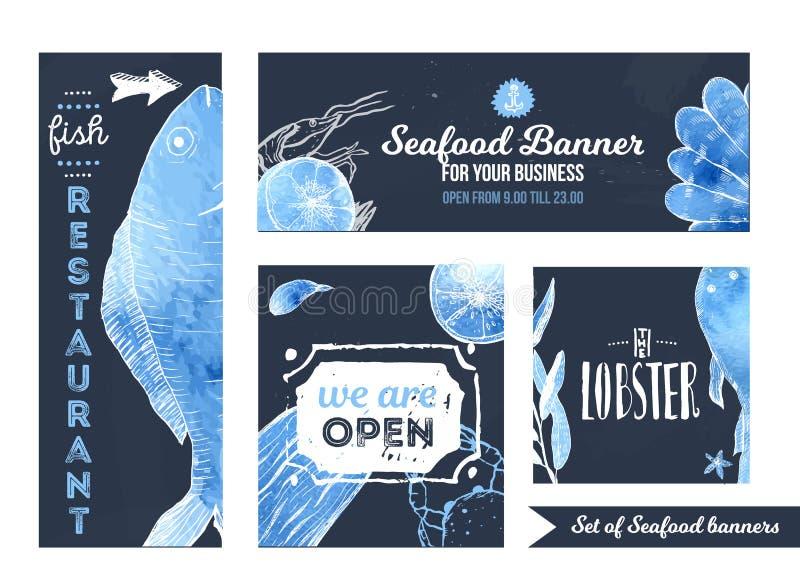 El sistema de las banderas promocionales de los mariscos para el café, restaurante en medios sociales con la mano dibujada pesca  stock de ilustración