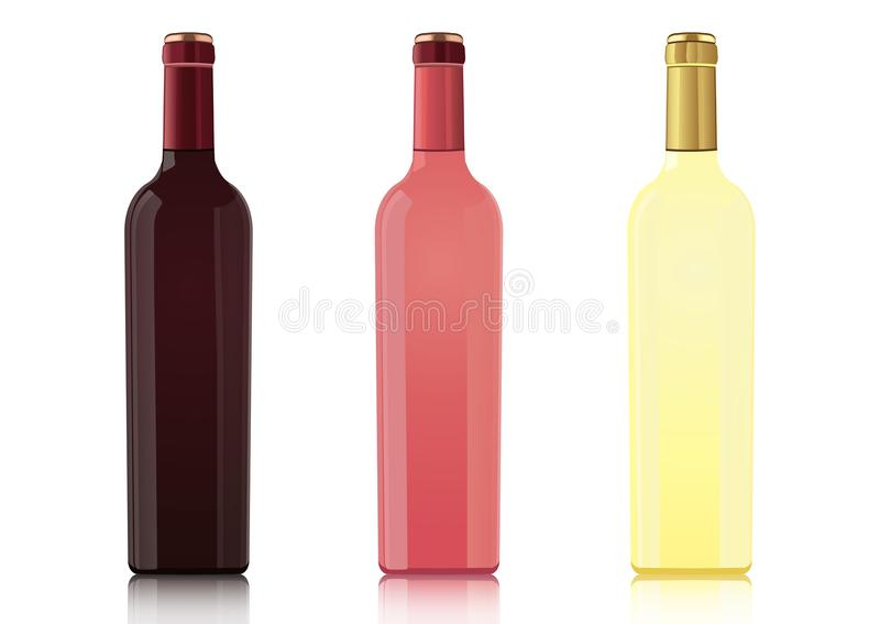 El sistema de las botellas de diversos tipos de vinos sin etiquetas, vector el dibujo realista La botella de vino rojo, botella d ilustración del vector