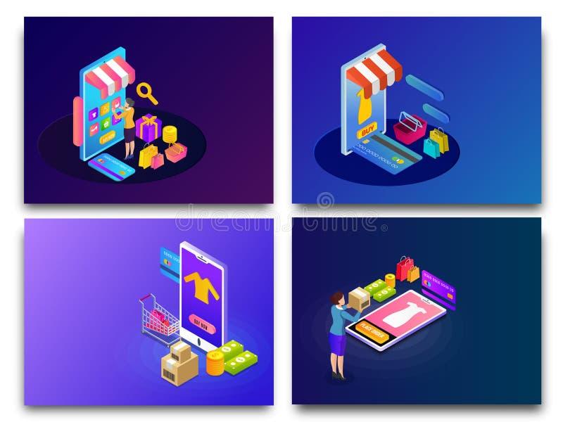 El sistema de las compras en línea isométricas cuatro diseña con el app que hace compras stock de ilustración