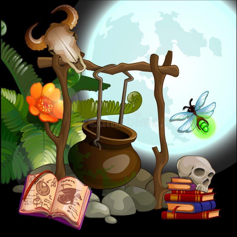 El sistema de las cualidades para los ritos mágicos de ejecución Ejemplo del primer de la historieta del vector ilustración del vector