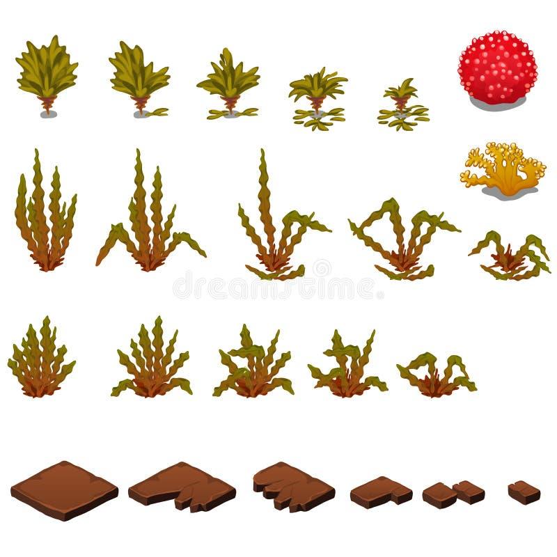 El sistema de las etapas de la destrucción de losas y del decaimiento de las algas marinas aisladas en el fondo blanco Vector stock de ilustración