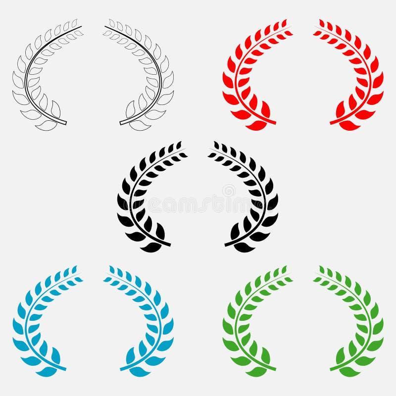 El sistema de laurel coloreado se va en fondo aislado blanco Elementos del vector para su diseño libre illustration