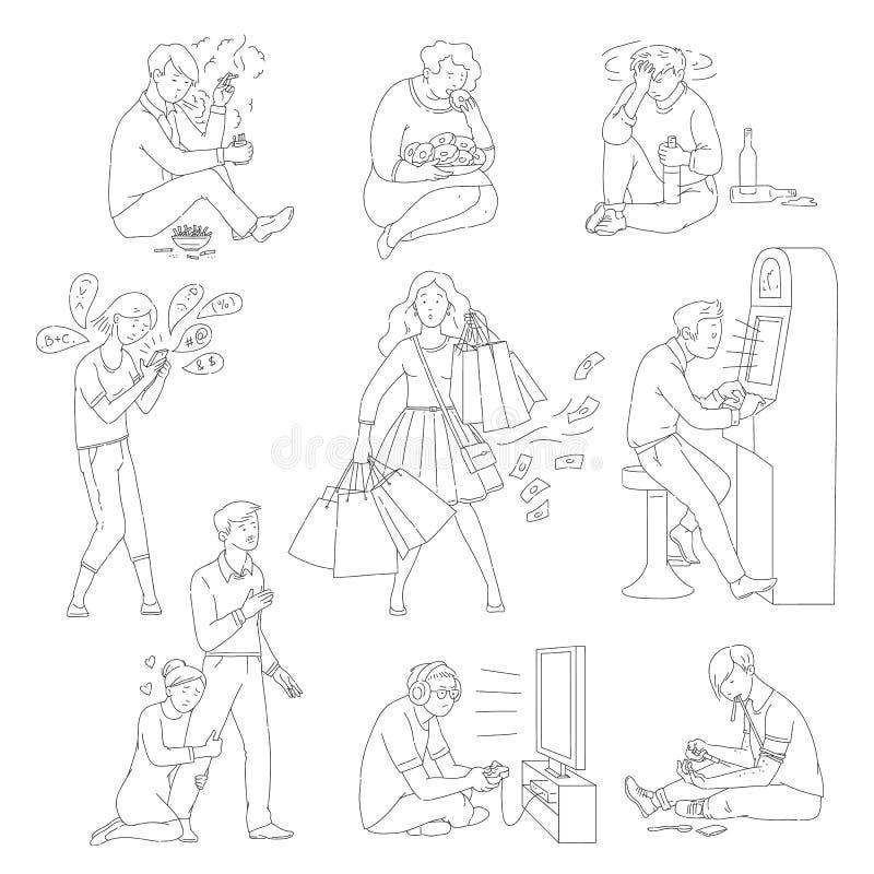 El sistema de los caracteres masculinos y femeninos con vector de los desordenes adictivos aisló ilustración del vector