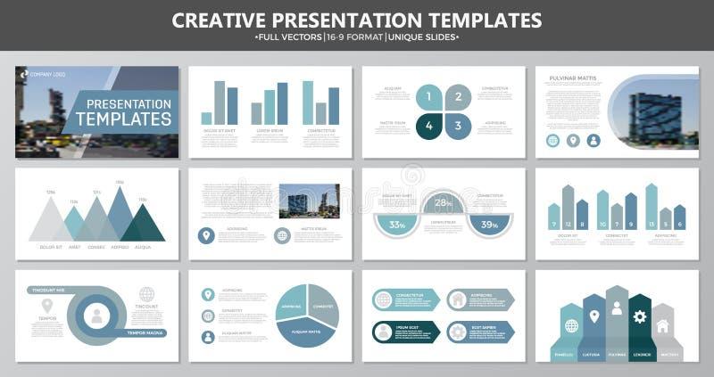 El sistema de los elementos azules y grises para la plantilla multiusos de la presentación resbala con los gráficos y las cartas  stock de ilustración