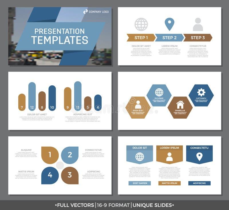 El sistema de los elementos azules y marrones para la plantilla multiusos de la presentación resbala con los gráficos y las carta stock de ilustración