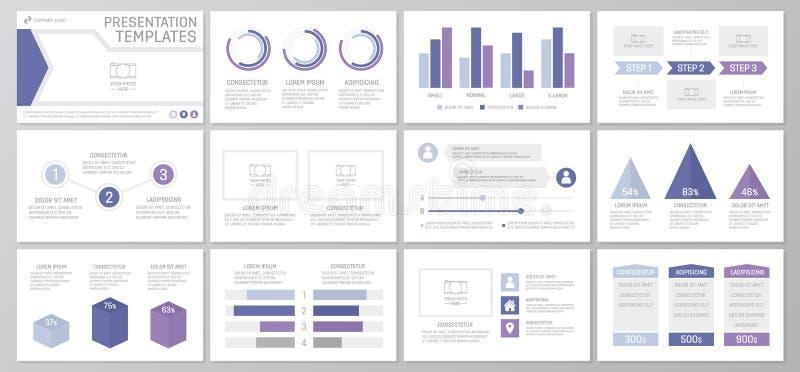 El sistema de los elementos azules y puros para la plantilla multiusos de la presentación resbala con los gráficos y las cartas A stock de ilustración
