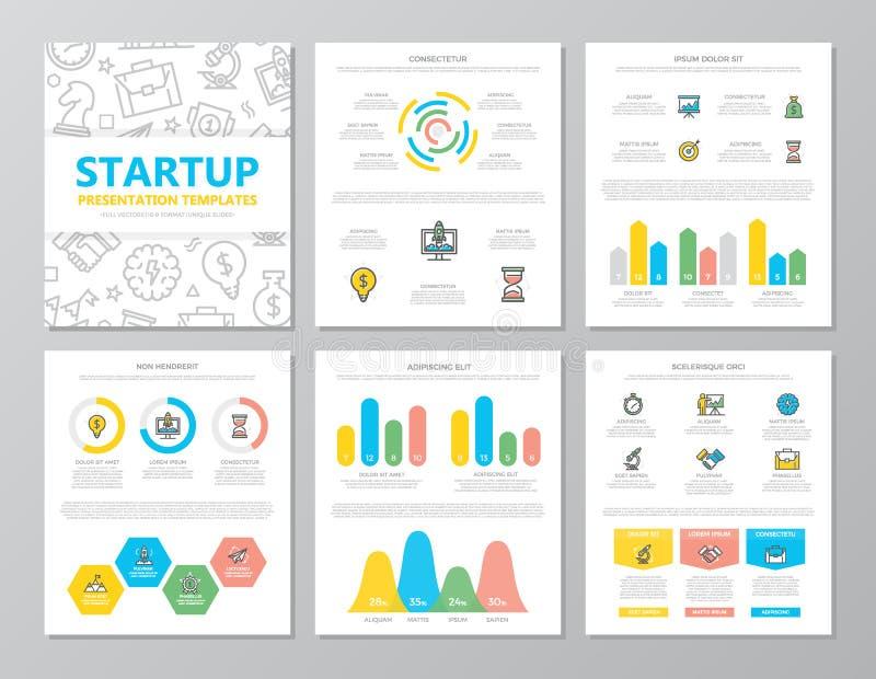 El sistema de los elementos coloreados del inicio y del negocio para la plantilla multiusos de la presentación a4 resbala con los stock de ilustración