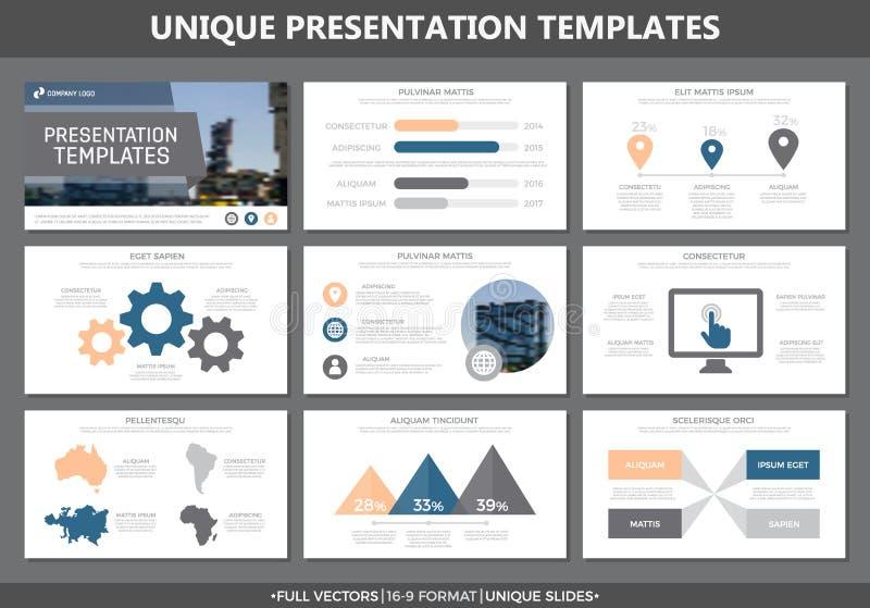 El sistema de los elementos corporales y azules para la plantilla multiusos de la presentación resbala con los gráficos y las car stock de ilustración