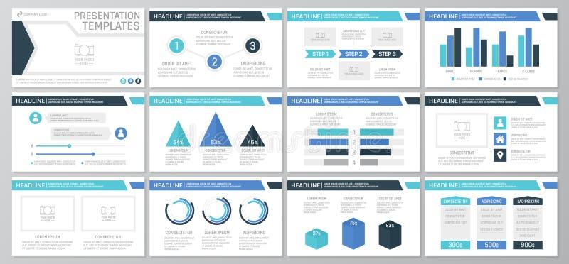 El sistema de los elementos del azul y de la turquesa para la plantilla multiusos de la presentación resbala con los gráficos y l ilustración del vector