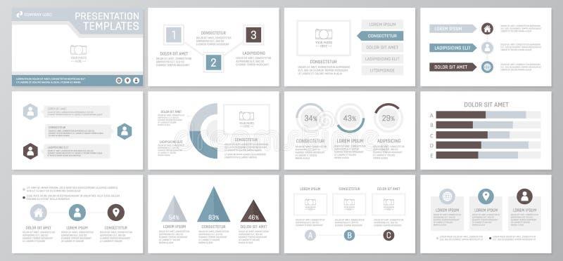 El sistema de los elementos grises y azules para la plantilla multiusos de la presentación resbala con los gráficos y las cartas  libre illustration