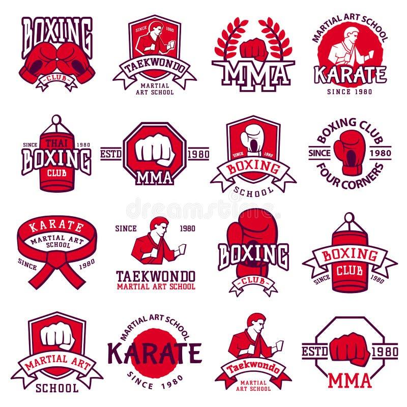 El sistema de los emblemas frescos del club que luchan, etiquetas, badges vector ilustración del vector