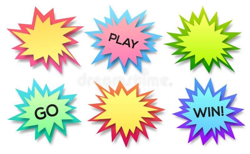 El sistema de los fondos del extracto del vector del estilo, de la explosión o de la explosión de papel burbujea ilustración del vector