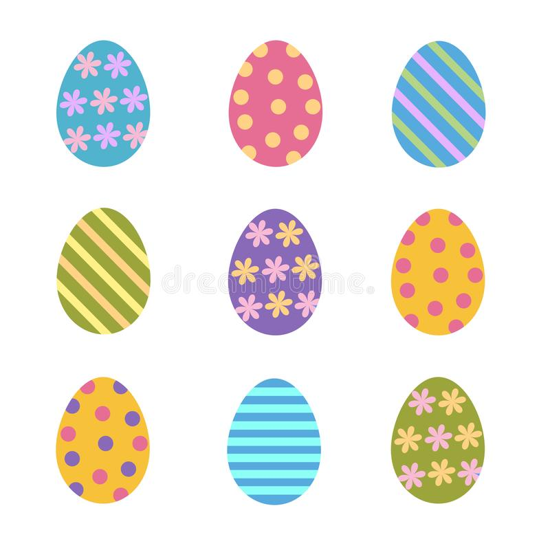 El sistema de los huevos de Pascua coloridos adornó rayas, puntos y las flores, ilustración del vector
