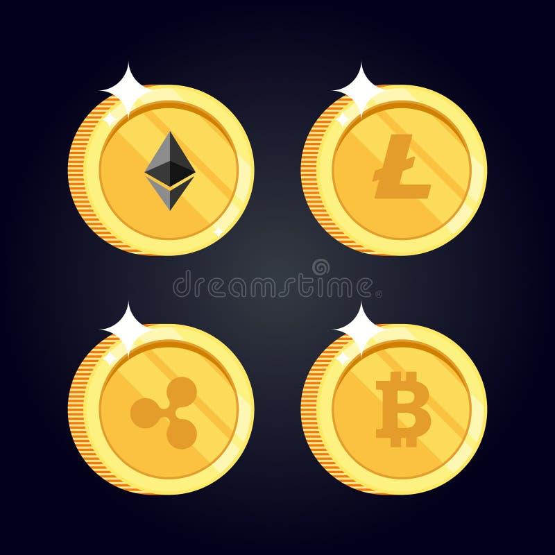 El sistema de los iconos Litecoin, ondulación, Ethereum, bitcoin acuña stock de ilustración