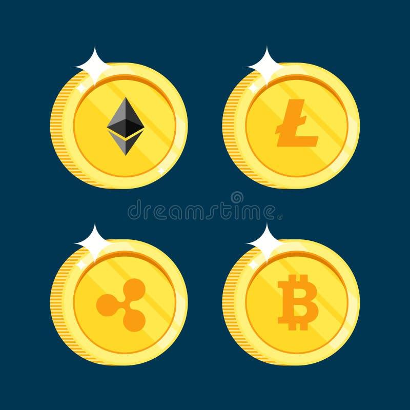 El sistema de los iconos Litecoin, ondulación, Ethereum, bitcoin acuña en el fondo negro aislado libre illustration
