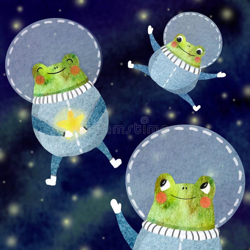 El sistema de los niños de un astronauta alegre libre illustration