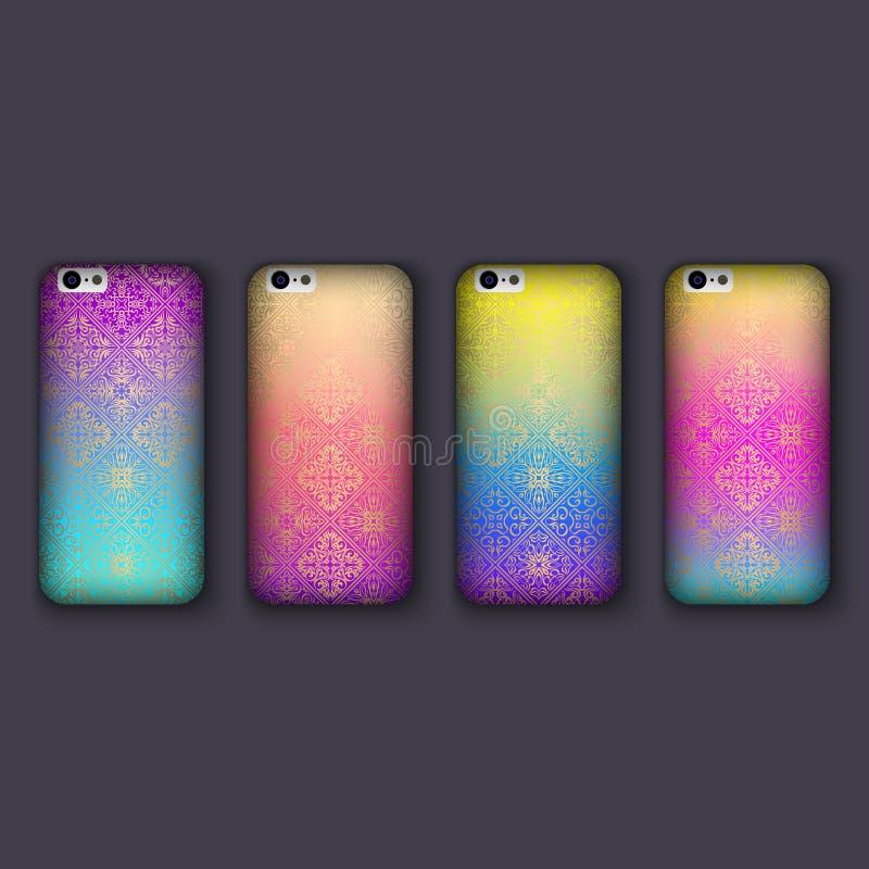 El sistema de los ornamentos de moda del mosaico para la cubierta del teléfono móvil, teja elementos geométricos Caja del teléfon libre illustration