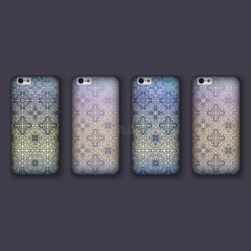 El sistema de los ornamentos de moda del mosaico para la cubierta del teléfono móvil, teja elementos geométricos Caja del teléfon ilustración del vector