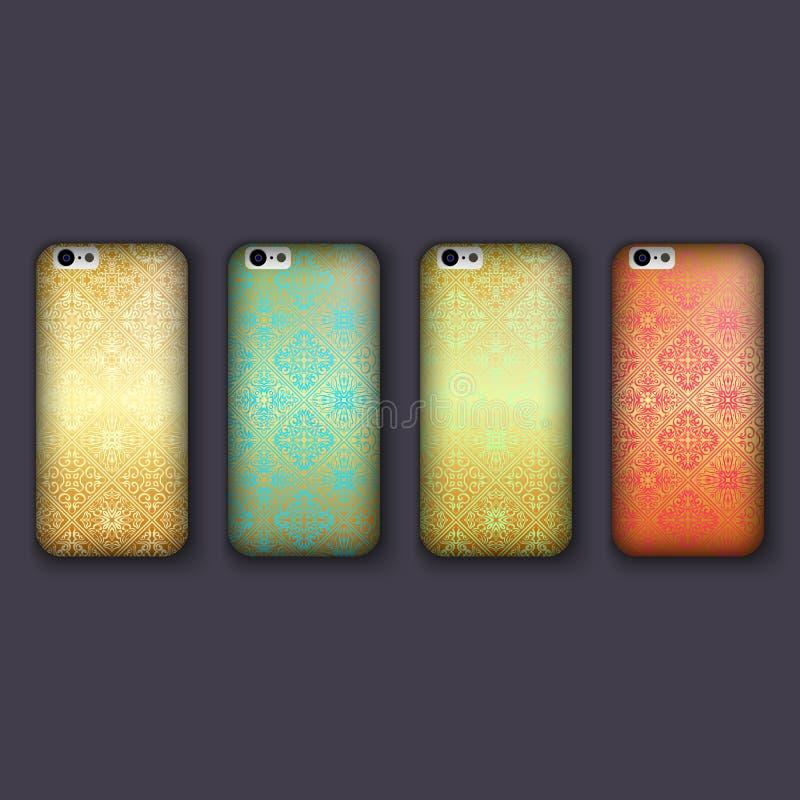El sistema de los ornamentos de moda del mosaico para la cubierta del teléfono móvil, teja elementos geométricos Caja del teléfon stock de ilustración