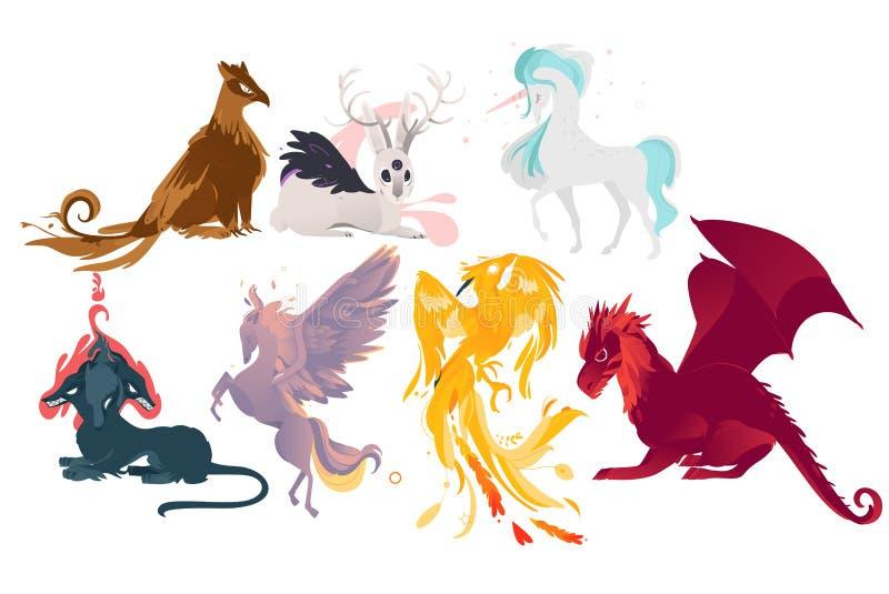 El sistema de mítico, mitológico crea y los animales libre illustration