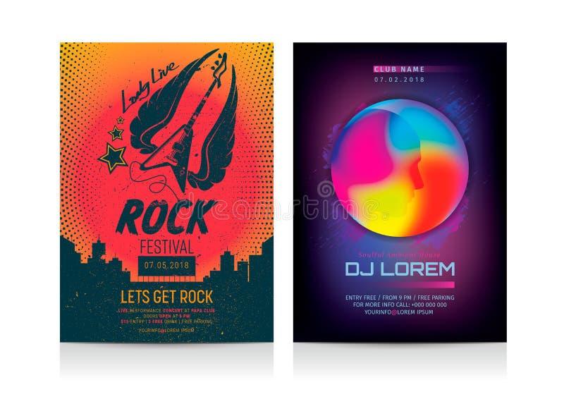 El sistema de música rock y DJ van de fiesta plantillas de la disposición del aviador ilustración del vector