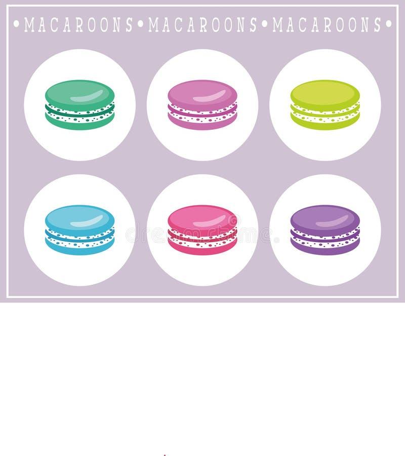 El sistema de macarrones planos, los macarons icono y los elementos para la panadería y la confitería diseñan libre illustration