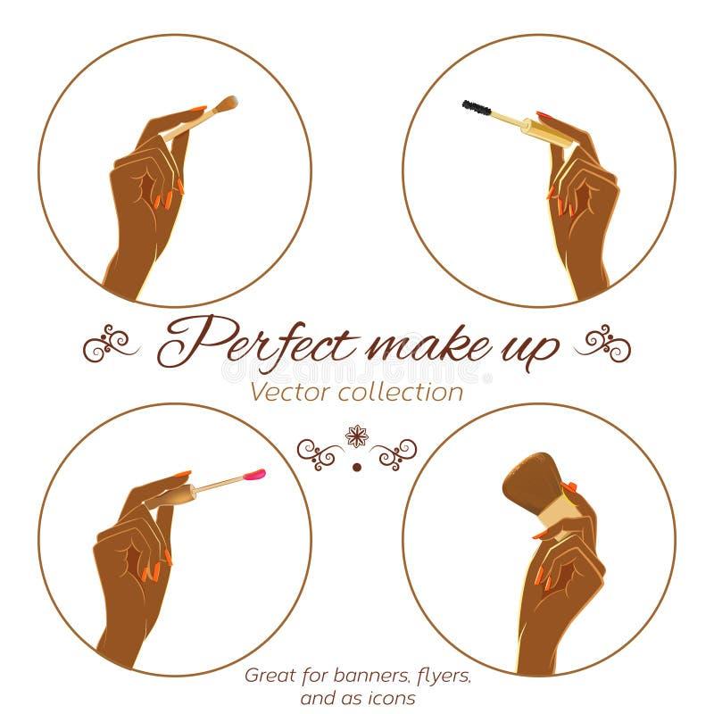 El sistema de manos con la moda oscura de la tenencia de la piel compone cepillos libre illustration