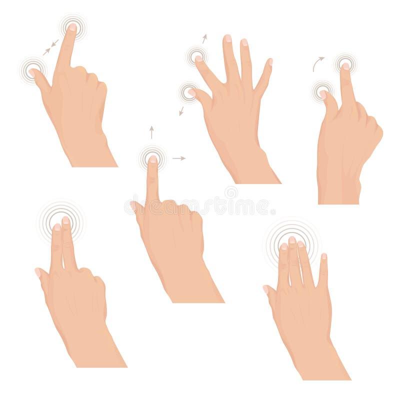 El sistema de manos con multi-touch gesticula para la tableta o el smartphone ilustración del vector