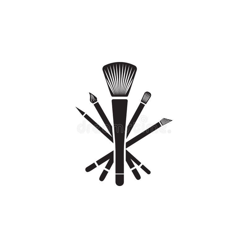 El sistema de maquillaje cepilla el icono Elemento del icono del salón de la belleza para los apps móviles del concepto y del web ilustración del vector