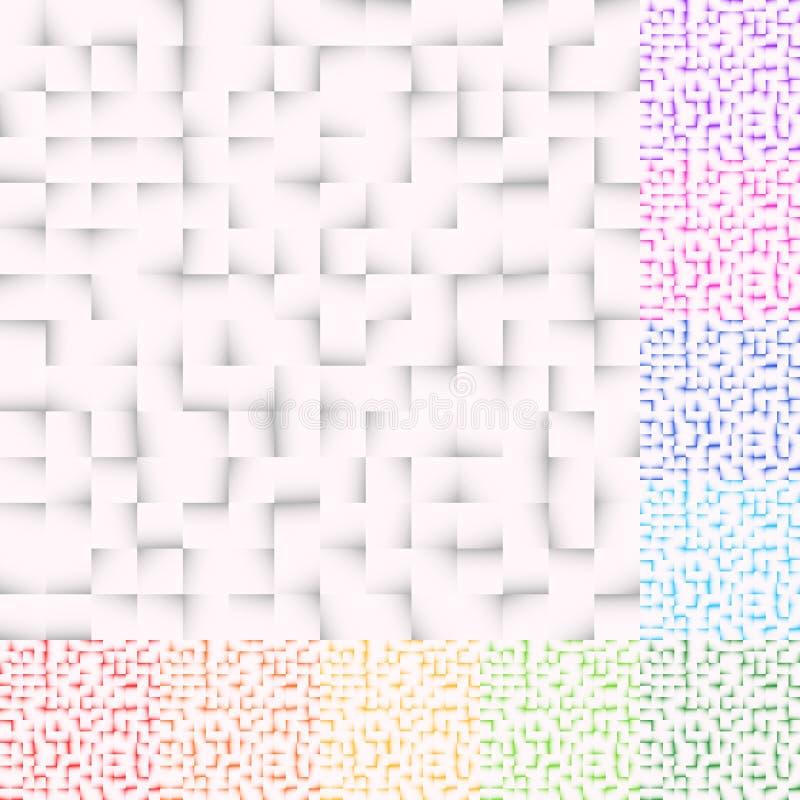El sistema de modelos de mosaico en varios colorea Los cuadrados modelan, ajustan libre illustration